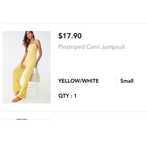 Pinstripe yellow cami jump suit